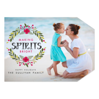 Making Spirits Bright Wreath Holiday Photo Card