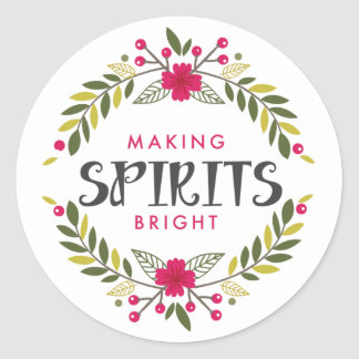 Making Spirits Bright Wreath Holiday Sticker
