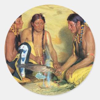 Making Sweetgrass Medicine, Blackfeet Ceremony Classic Round Sticker