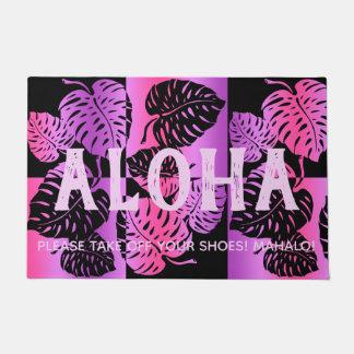 Makua Monstera Tropical Hawaiian Striped Blend Doormat