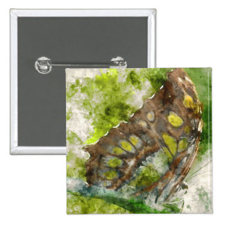 malachit butterfly 2 inch square button