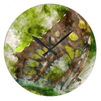 malachit butterfly large clock