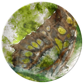 malachit butterfly porcelain plates