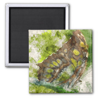 malachit butterfly square magnet