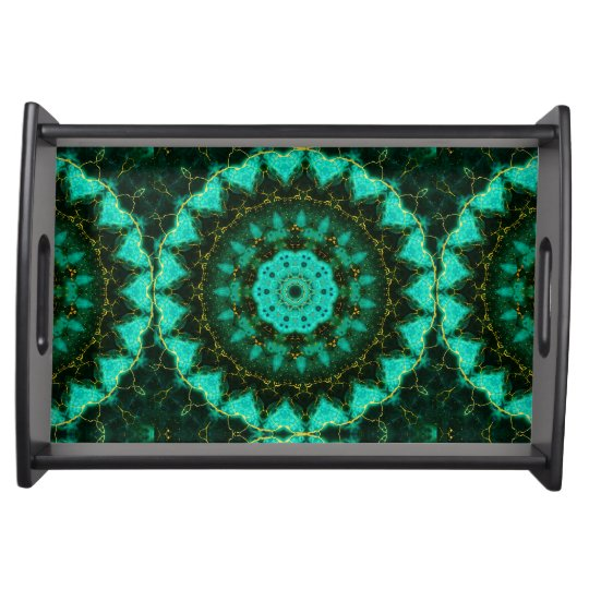 Malachite and gold  Kaleidoscope  Mandala Serving Tray