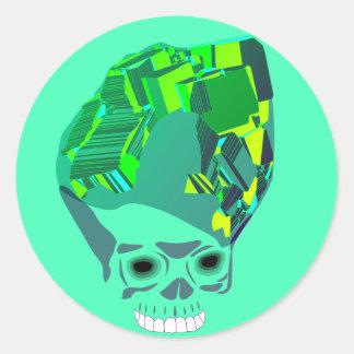 Malachite Cube Skull Classic Round Sticker