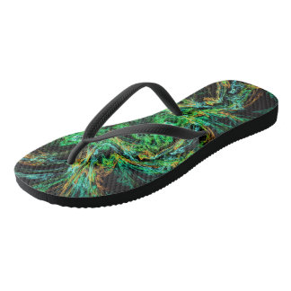 Malachite fractal as a slice of decorative stone flip flops
