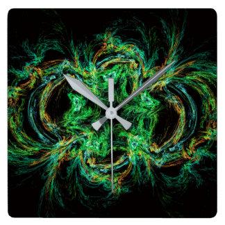 Malachite fractal as a slice of decorative stone wall clock