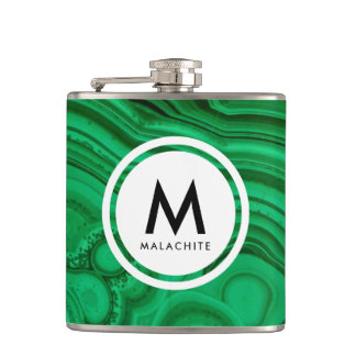 Malachite Mineral Monogram Hip Flask