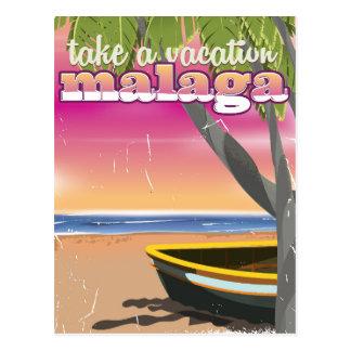 Malaga Spain travel poster. Postcard