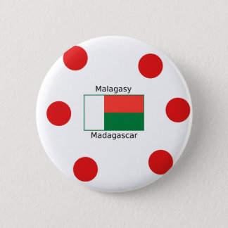 Malagasy Language And Madagascar Flag Design 2 Inch Round Button