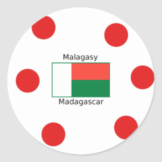 Malagasy Language And Madagascar Flag Design Classic Round Sticker