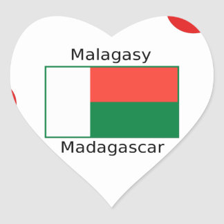 Malagasy Language And Madagascar Flag Design Heart Sticker