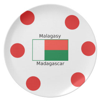 Malagasy Language And Madagascar Flag Design Plate