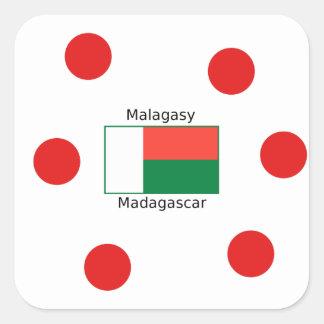 Malagasy Language And Madagascar Flag Design Square Sticker