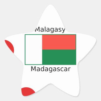 Malagasy Language And Madagascar Flag Design Star Sticker