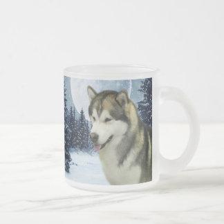 Malamute Frosted Glass Coffee Mug