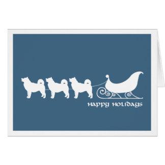 Malamutes Pulling Santa's Sleigh Card