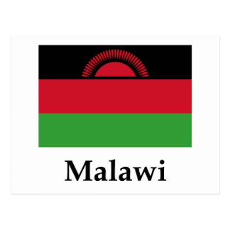 Malawi Flag And Name Postcard