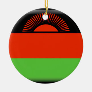 Malawi Flag Round Ceramic Ornament