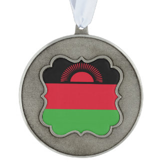 Malawi Flag Scalloped Pewter Ornament