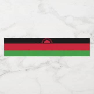 Malawi Flag Water Bottle Label