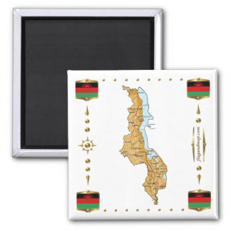 Malawi Map + Flags Magnet