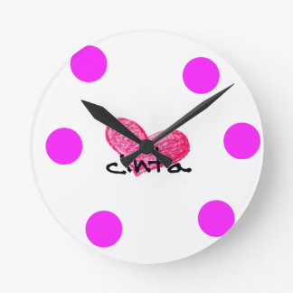 Malay Language of Love Design Round Clock