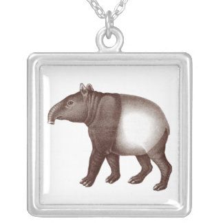 Malay or Asian Tapir from an Antique Engraving Silver Plated Necklace