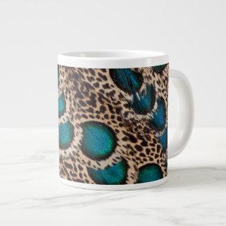 Malay Peacock-pheasant feathers Large Coffee Mug