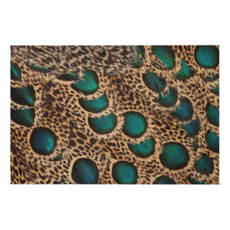 Malay Peacock-pheasant feathers Wood Canvas