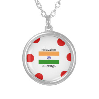 Malayalam Language And India Flag Design Silver Plated Necklace