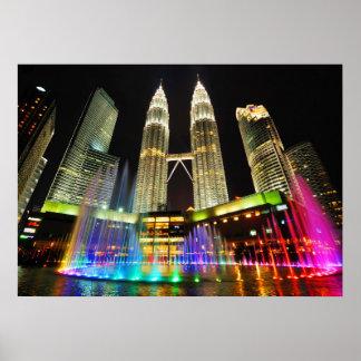 Malaysia City Skyline w/ Rainbow Lighted Fountain, Poster