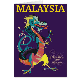 Malaysia Dragon vintage style travel poster Card