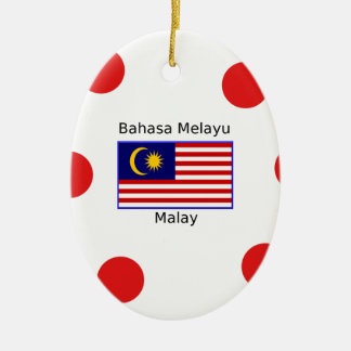 Malaysia Flag And Malay Language Design Ceramic Ornament