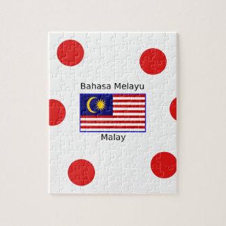 Malaysia Flag And Malay Language Design Jigsaw Puzzle
