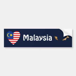 Malaysia Flag Heart + Map Bumper Sticker