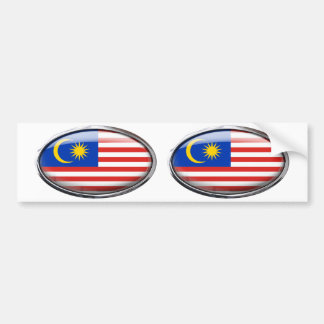 Malaysia Flag in Glass Oval Bumper Sticker