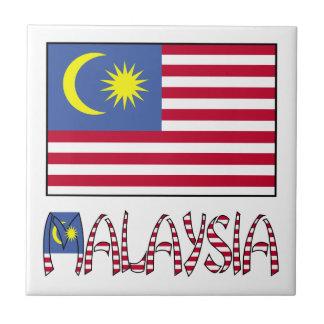 Malaysia Flag & Word Ceramic Tiles