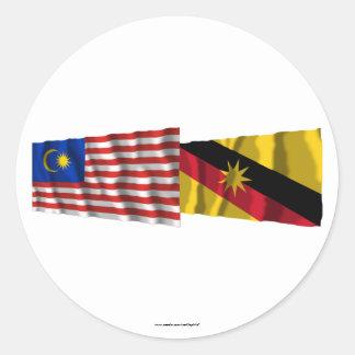 Malaysia & Sarawak waving flags Classic Round Sticker
