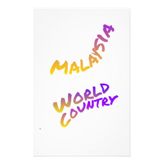 Malaysia world country, colorful text art stationery