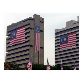 malaysian flag bldgs postcard