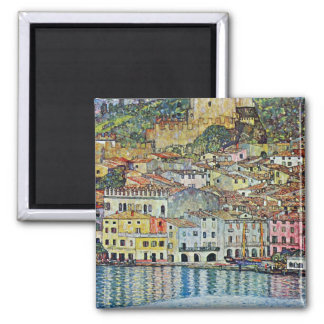 Malcesine on Lake Garda By Gustav Klimt Square Magnet