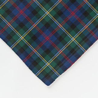 Malcolm Clan Dark Blue and Forest Green Tartan Fleece Blanket