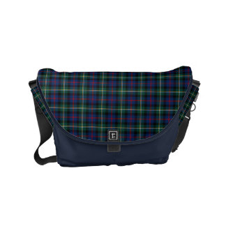 Malcolm Clan Dark Blue and Green Scottish Tartan Courier Bags