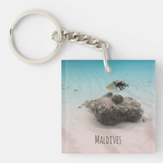 Maldives Coral Fish In Turquoise Sea Souvenir Single-Sided Square Acrylic Keychain