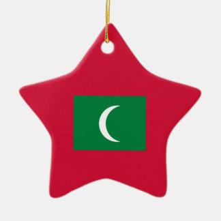 Maldives Flag Ceramic Star Ornament
