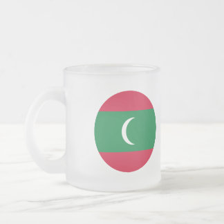 Maldives Flag Frosted Glass Coffee Mug