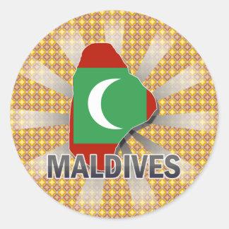Maldives Flag Map 2.0 Classic Round Sticker