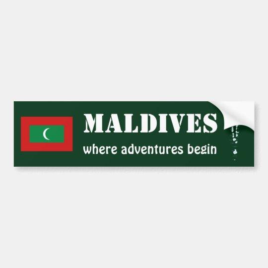 Maldives Flag + Map Bumper Sticker